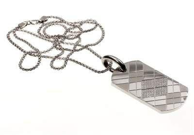 Simmons Jewelry Co. Stainless Steel Diamond Dog Tag Necklace