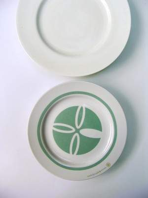 One Helping Helps Many plate compared to a normal-sized dinner plate