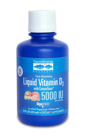 Liquid Vitamin D3 with ConcenTrace provides 5000 IU of vegetarian vitamin D.