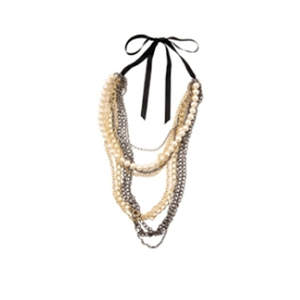Pearl Mesh Mixed-Metal Layered Chain Necklace