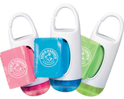 The ARM & HAMMER Disposable Waste Bags & Dispenser comes with 24 baking soda infused bags with a fresh scent to naturally eliminate odors.