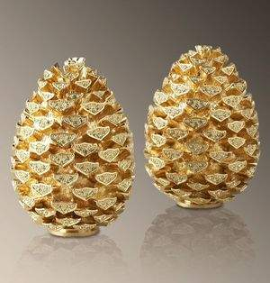 L'Objet Gold Plated Pine Cone Shaker Set