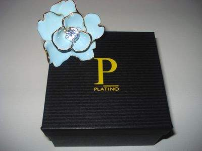* Light Blue Enamel Large Flower Gold Ring with Large Clear Swarovski Crystal Center by Kenneth Jay Lane