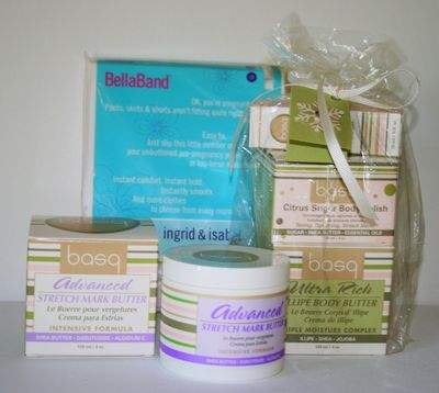 Basq gift pack-- Illipe Body Butter, Citrus Sugar Body Polish, Resilient Body Oil <br>Basq Advanced Stretch Mark Butter <br>Ingrid & Isabel Bella Band