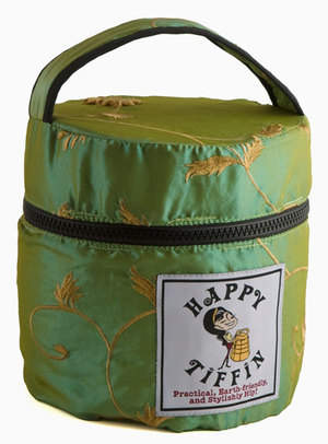 Green Insulated Tiffin Carrier Bag with 3 Tier Tiffin