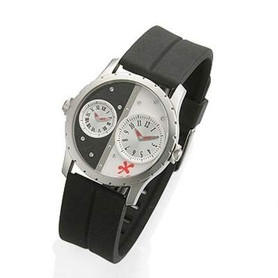 Dexter Watch, Black and White Two Toned Watch with Crystals