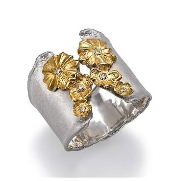 Silver and 18k Gold Diamond Flower Ring
