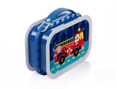 yubo deluxe lunchbox (blue) with firetruck dog faceplate set