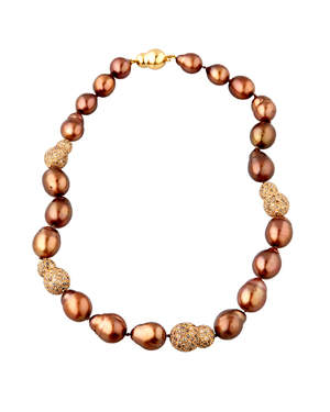 20 large chocolate dyed baroque pearls with 4 rose gold pave diamond nuggets and a solid gold nugget clasp