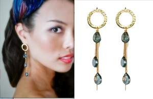 Circle London Blue Topaz Droplet Earrings