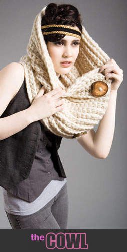 Spratters & Jayne Cowl Neck Scarf with Wooden Circle Buttons