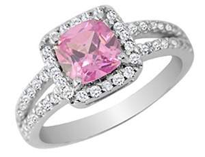 Pink Quartz Ring with Diamonds 1/4 Carat (ctw) in 10K White Gold