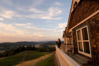 Private terraces overlook 22 acres of organic vineyards at Youngberg Hill, McMinnville, Ore.