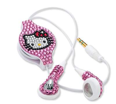 Hello Kitty Crystal Retractable Earbuds