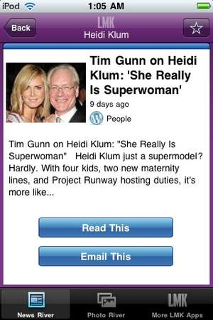 Heidi Klum LMK App. content from Tim Gunn article.