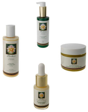Pictured clockwise from top: Ayurveda-Energen Body Silk II, Microcrystal Exfoliation Treatment, Regenesis-Energen ATP Cell Serum and Hydrating Cleansing Gele from Shankara's natural, anti-aging BioRegenesis skincare line.