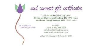 25% off Gift Certificates or Mother's Day