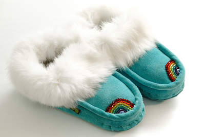 Sweet Dreams Slippers - Turquoise Taffy Rad Rainbow