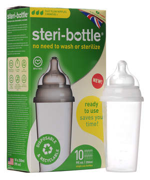 Steri-bottle is a single-use feeding bottle that's ready to use out of the box and 100% recyclable.