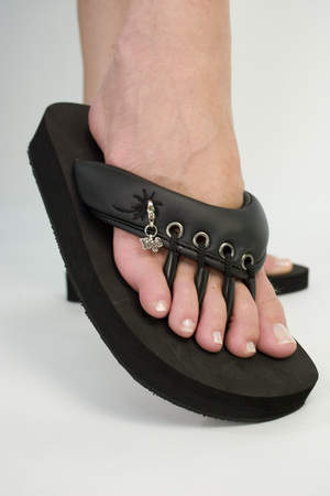 Yoga Sandals Originals in Black. Charm Sold Separately.