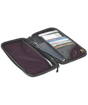 Large size features: Eight card slots, two large sleeves, a pen holder, a zippered coin pouch and an external pocket for boarding pass/itinerary