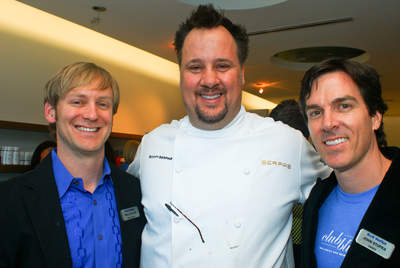 Dr. Paul Cox, Chef Scott Serpas and owner John Stupka at the Club BLUE Launch Party