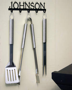 Personalized BBQ Tool Rack to organize your favorite grilling tools!