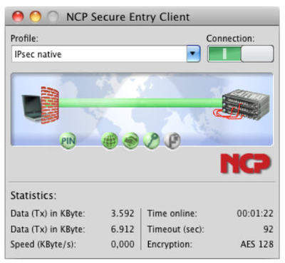 NCP Secure Entry Mac Client interface