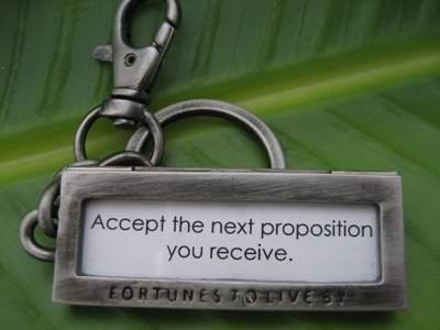 Fortunes To Live By keychain with fortune