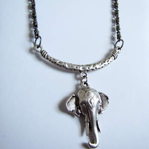 Antique Silver Elephant Pendant Necklace