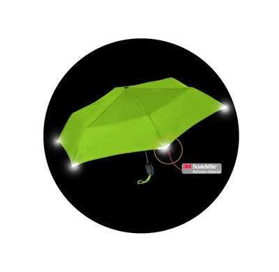 WalkSafe Umbrella with 3M Scotchlite reflective materials to give it 360 degree enhanced visibility