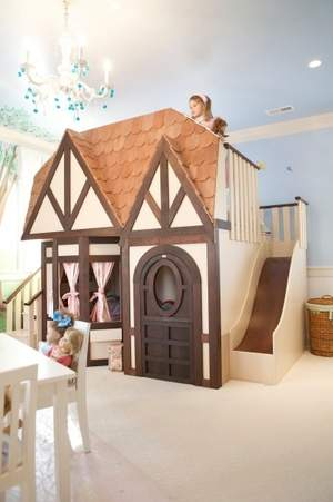 Custom Girls Dollhouse Loft Playhouse Bed