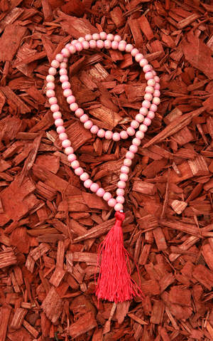 Tibetan Buddha Prayer wood Beads Necklace (Mala) in Pink