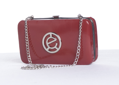Red faux patent leather clutch