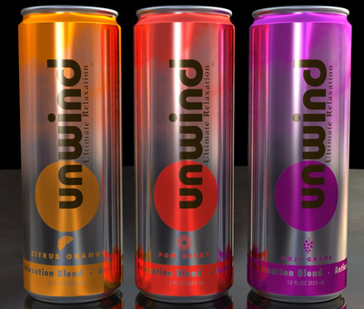 Unwind: Lightlt carbonated, low calorie and sugar ultimate relaxation beverage -- Citrus Orange, Pom Berry and Goji Grape.