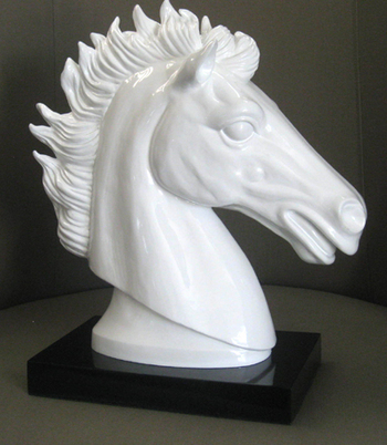 WHITE FIRE STALLION SCULPTURE