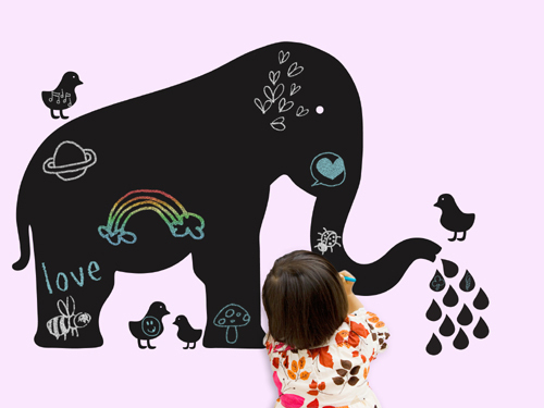 WallCandy Arts-Baby Chalkboard Elephant Wall Decal