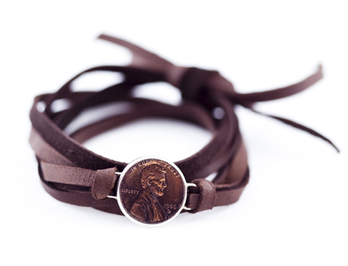 Signature Leather Wrap Penny Bracelet - Available in Black & Brown - $45