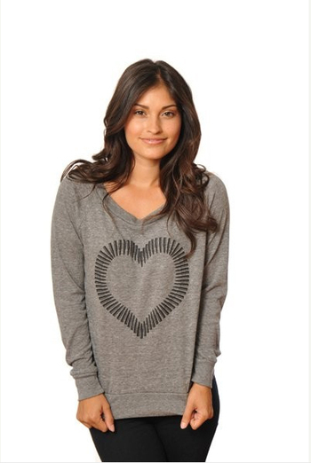 Bullet Heart Sweatshirt (available in foil) retails for $40.00