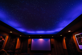 Night Sky Mural on home theater ceiling