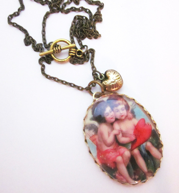 Annabellea Cupid and Heart Necklace