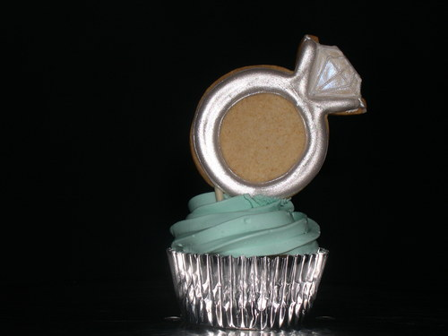 Engagement Ring Cookie Cupcake