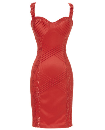 Cross Pintuck Sheath Dress in Red