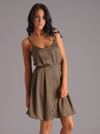Zipper Front Dress in Olive