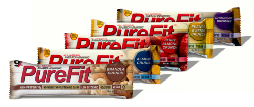 PureFit Nutrition Bars are available in Granola Crunch, Almond Crunch, Berry Almond Crunch, Peanut Butter Crunch and Chocolate Brownie.