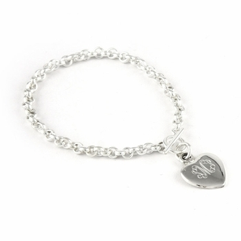 Sterling Silver Link Bracelet with Heart Charm