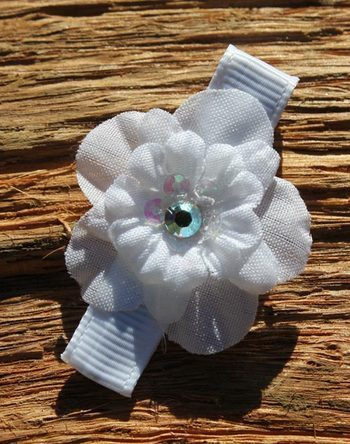 White Sparkle Flower Hairclip by tutu cute