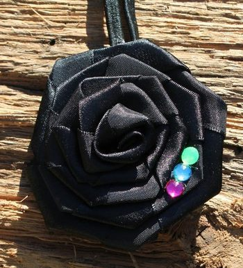 Black Ribbon Rose Headband by tutu cute