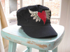 Army Cap - Distressed Vintage Black w/ HEART and WINGS by Take Flight Boutique