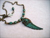 The Perfect Gift for Her - Wire Wrapped Verdigris Patina Wing Pendant